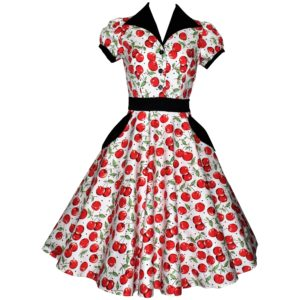 Siren Clothing 50's vintage inspired shirt dress with full swing skirt in red cherry print on white background