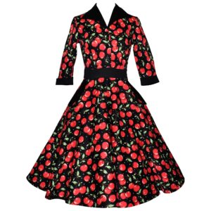 Fifties Vintage-style shirt dress with 3/4 sleeves. full swing skirt and contrast collar in red cherry print cotton fabric on black background