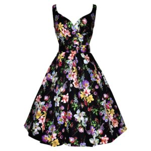 Siren Clothing 50's vintage inspired swing dress with crossover bodice in black floral stretch cotton sateen fabric
