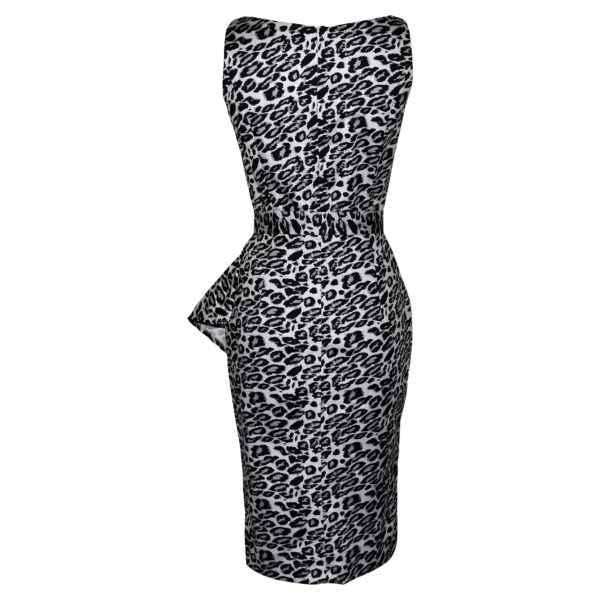 Siren Clothing Fifties vintage-inspired boatneck pencil dress in grey and black leopardskin print stretch cotton fabric, back view