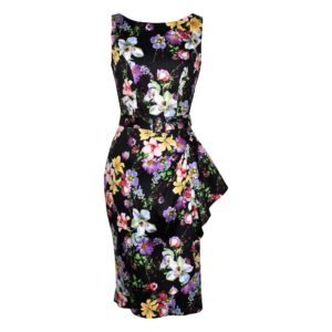 Siren Clothing Fifties vintage-inspired boatneck pencil dress in black floral print stretch cotton fabric