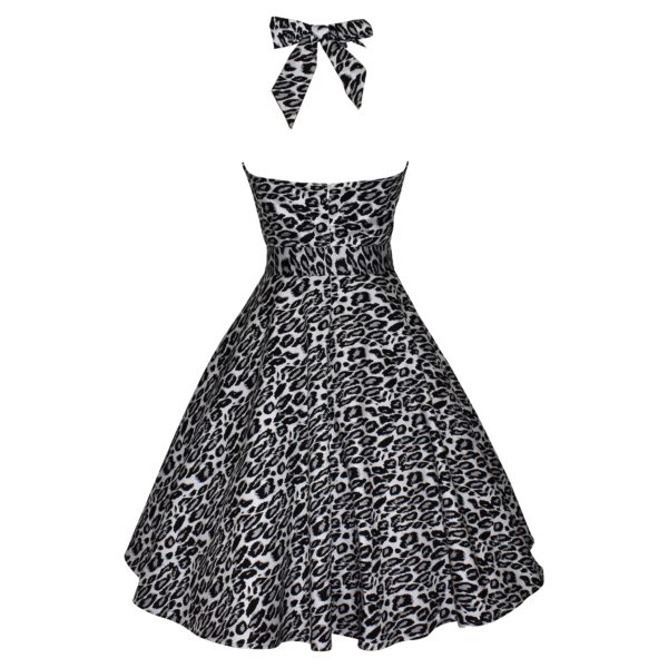 Siren Clothing 50's vintage-inspired swing dress with halter neck and full skirt in grey and black leopardskin print, back view