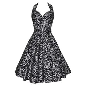 Fifties style swing dress with halter neck and full skirt in grey and black leopardskin print