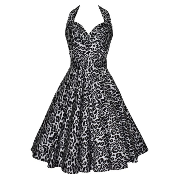 Siren Clothing 50's vintage-inspired swing dress with halter neck and full skirt in grey and black leopardskin print