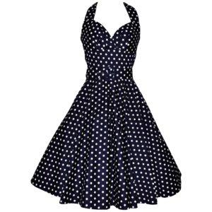 fifties vintage-style halter neck swing dress in navy polka dot cotton