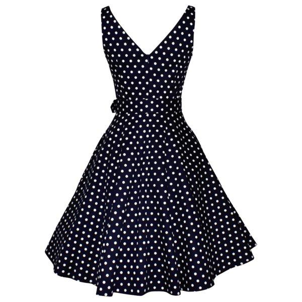 Siren Clothing 50's vintage inspired swing dress in navy polka dot cotton