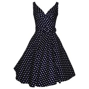 Fifties vintage style swing dress in navy polka dot cotton sateen