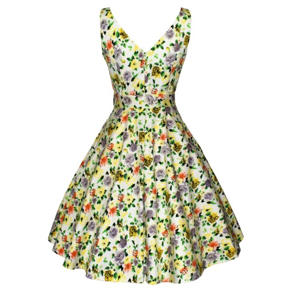 Siren Clothing 50's vintage inspired soft white floral swing dress, back view