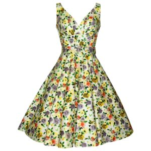 Siren Clothing 50's vintage inspired soft white floral swing dress