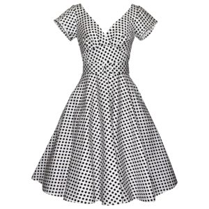 Fifties vintage style swing dress with cap sleeves in white polka dot cotton