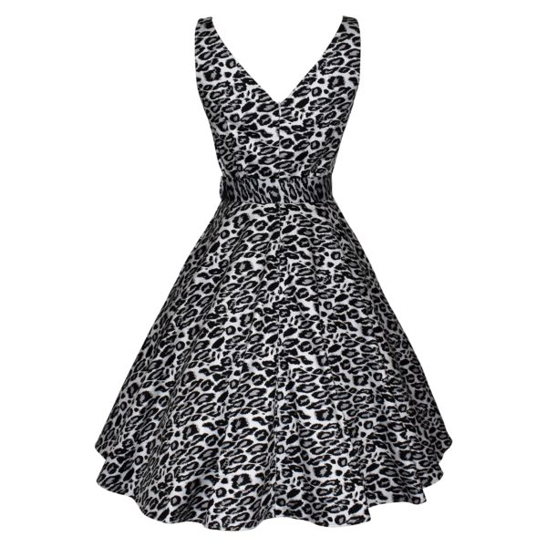 Siren Clothing fifties vintage-inspired swing dress with crossover bodice and full skirt in grey and black leopardskin stretch cotton fabric, back view
