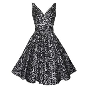 Vintage dress with crossover bodice and full skirt in grey and black leopardskin fabric