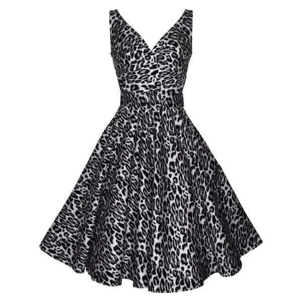 Siren Clothing fifties vintage-inspired swing dress with crossover bodice and full skirt in grey and black leopardskin stretch cotton fabric
