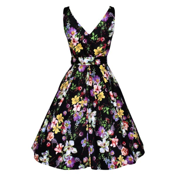 Siren Clothing 50's vintage inspired swing dress with crossover bodice in black floral stretch cotton sateen fabric, back view