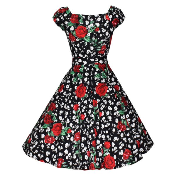 Siren Clothing 50's vintage inspired swing dress with sweetheart neckline and elasticated raglan sleeves in black white and red floral stretch cotton fabric, back view