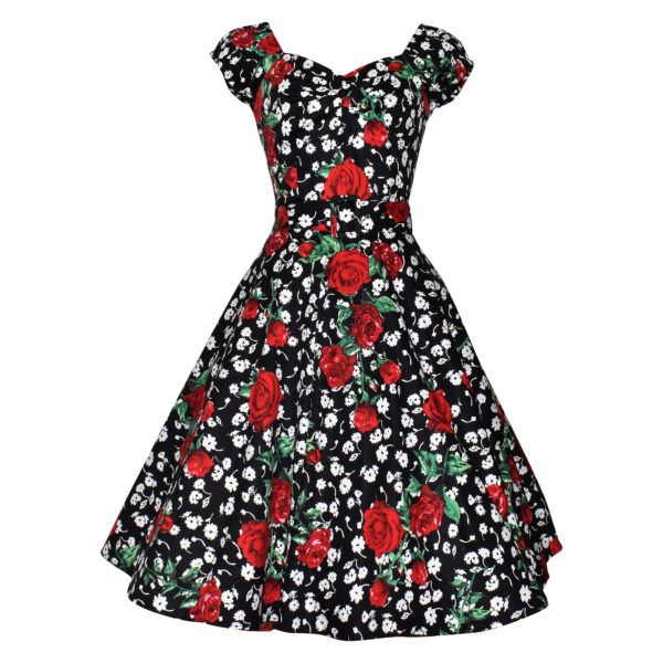 Siren Clothing 50's vintage inspired swing dress with sweetheart neckline and elasticated raglan sleeves in black white and red floral stretch cotton fabric
