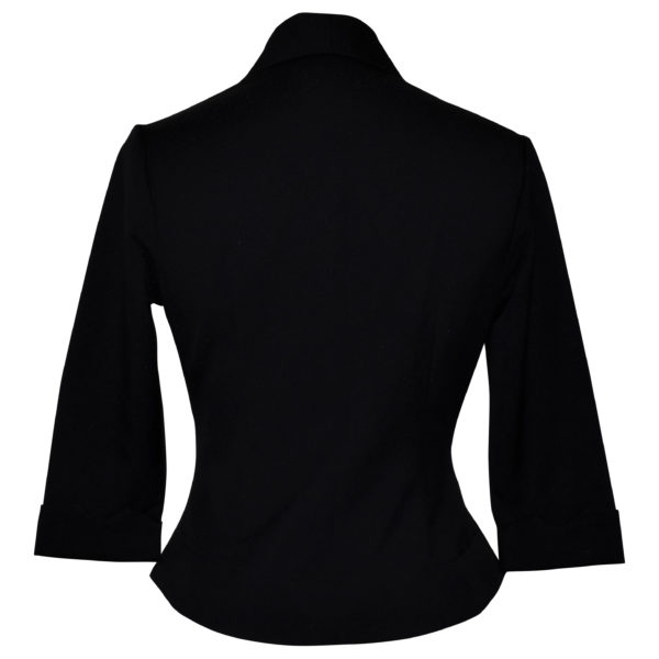 Siren Clothing 50's vintage inspired cropped fitted jacket in black stretch fabric, back view