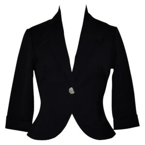 Black Fifties style fitted cropped jacket with single button