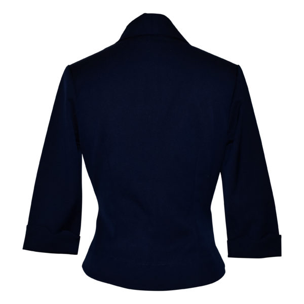 Siren Clothing 50's vintage inspired cropped fitted jacket in navy stretch fabric, back view