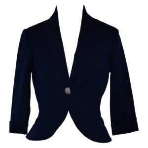 Siren Clothing 50's vintage inspired cropped fitted jacket in navy stretch fabric