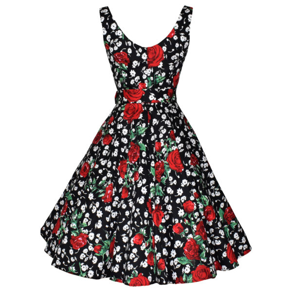 Siren Clothing 50's vintage inspired scoop necked swing dress in black white and red floral stretch cotton fabric, back view