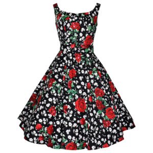 Siren Clothing 50's vintage inspired scoop necked swing dress in black white and red floral stretch cotton fabric