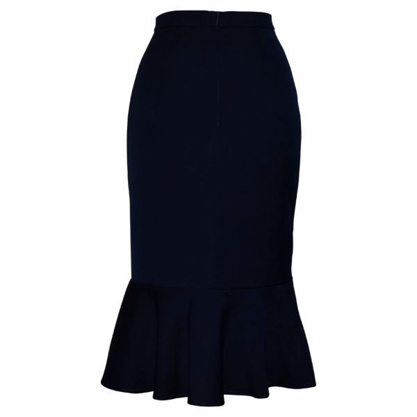 Siren Clothing 50's vintage inspired wiggle skirt with deep ruffled hem in plain navy stretch fabric, back view