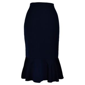 Siren Clothing 50's vintage inspired wiggle skirt with deep ruffled hem in plain navy stretch fabric