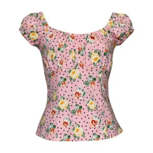 Siren Clothing 50's vintage inspired top in pale pink floral print stretch cotton fabric