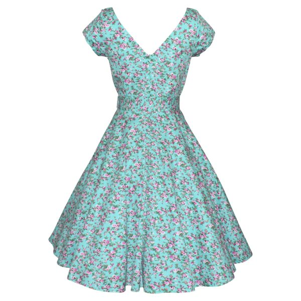 Siren Clothing 50's vintage inspired swing dress with crossover bodice and cap sleeves in aqua floral print stretch cotton fabric, back view