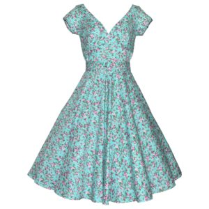 Siren Clothing 50's vintage inspired swing dress with crossover bodice and cap sleeves in aqua floral print stretch cotton fabric