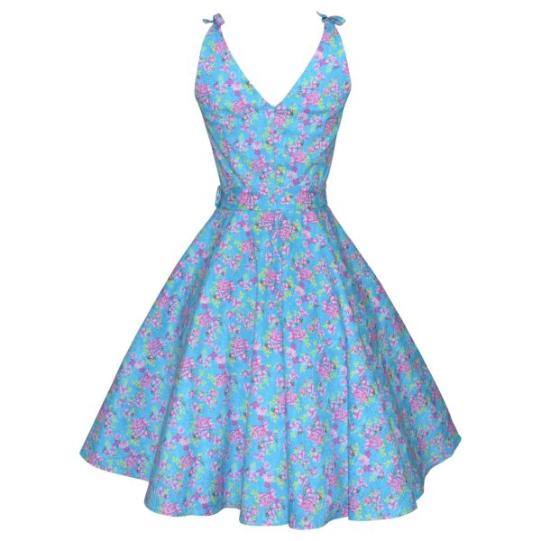 Siren Clothing 50's vintage inspired high-necked swing dress with ties at shoulders dress in blue and pink print stretch cotton fabric, back view