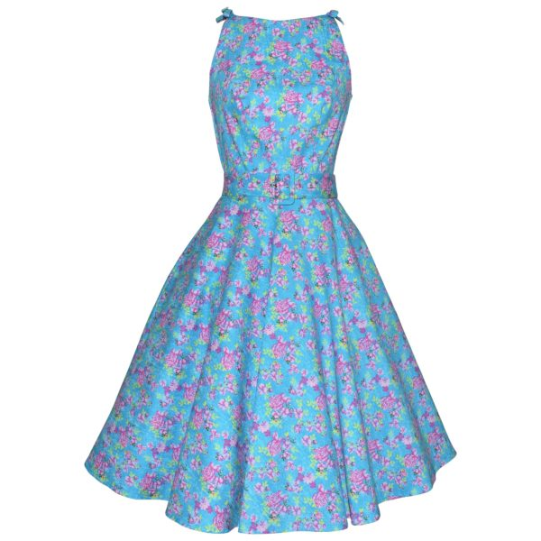 Siren Clothing 50's vintage inspired high-necked swing dress with ties at shoulders dress in blue and pink print stretch cotton fabric