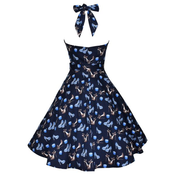 Siren Clothing 50's vintage inspired halter neck swing dress in blue shoe print stretch cotton fabric, back view