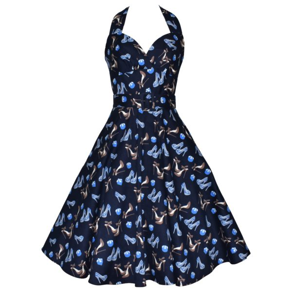Siren Clothing 50's vintage inspired halter neck swing dress in blue shoe print stretch cotton fabric