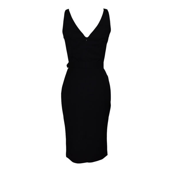 Siren Clothing 50's vintage inspired Wiggle Dress with scooped neckline in plain black stretch fabric back view