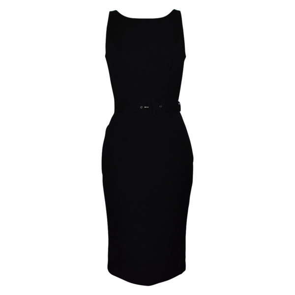 Siren Clothing 50's vintage inspired Wiggle Dress with scooped neckline in plain black stretch fabric