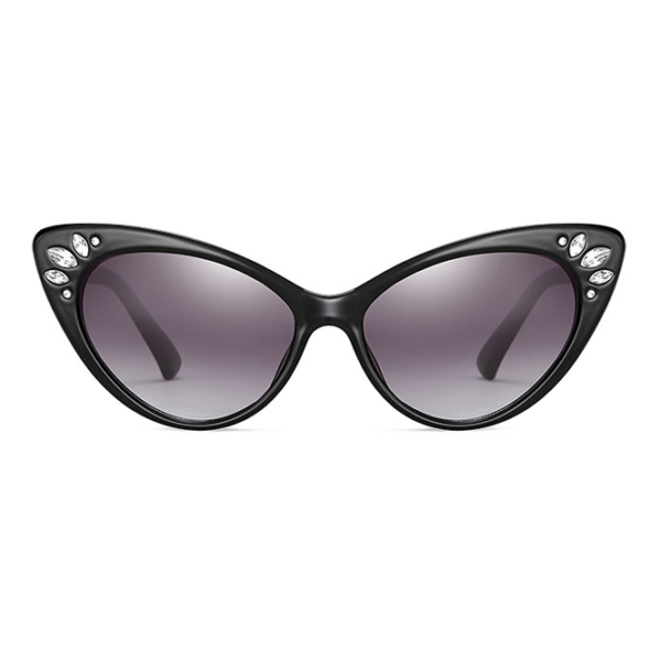 Black Catseye sunglasses with dark lenses and diamenté embellished outer corners