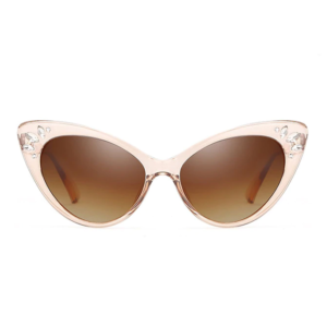 Catseye Sunglasses with diamanté accents in clear golden brown frames, front view