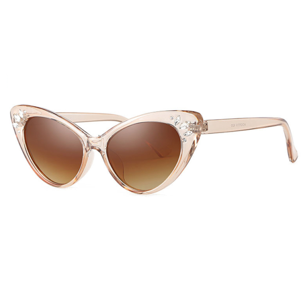 Catseye Sunglasses with diamanté accents in clear golden brown frames
