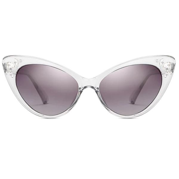 Catseye Sunglasses with diamanté accents in clear frames, front view