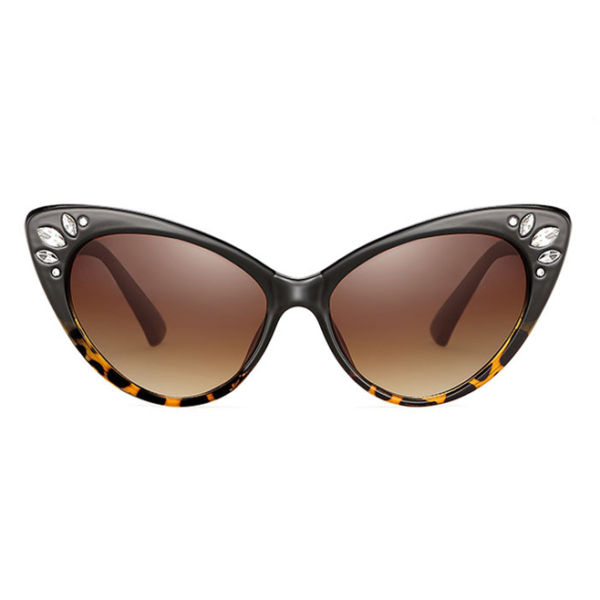Catseye Sunglasses with diamanté accents in tortoiseshell frames, front view