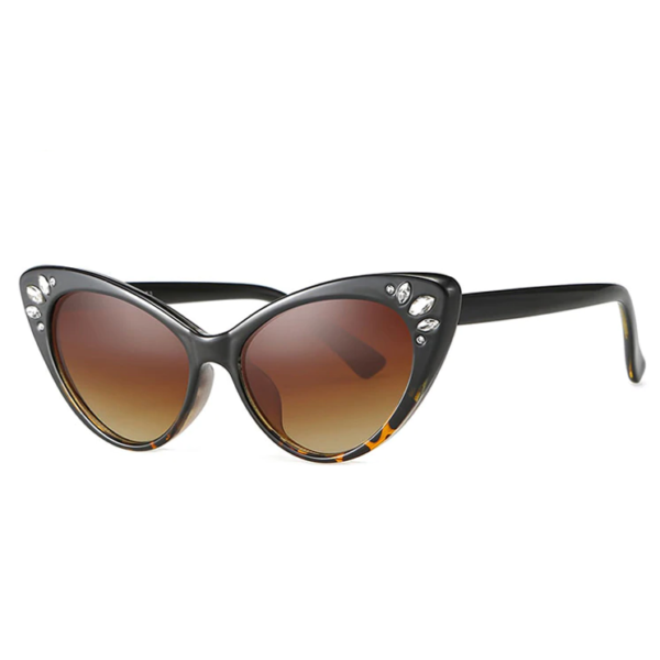 Catseye Sunglasses with diamanté accents in tortoiseshell frames