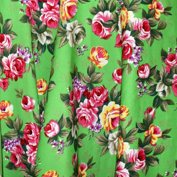 Cotton Spandex fabric in Lime Floral print