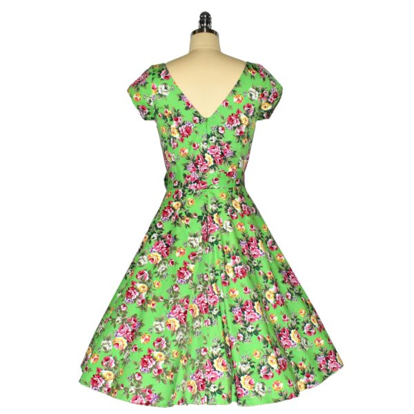 Fifties stle Swing Dress with crossover bodice and cap sleeves Back View