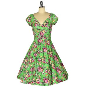 Fifties stle Swing Dress with crossover bodice and cap sleeves Front View