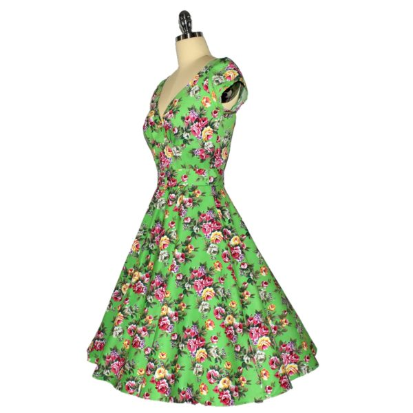 Fifties stle Swing Dress with crossover bodice and cap sleeves Side View