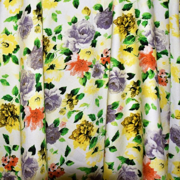 cotton spandex fabric with pretty floral design