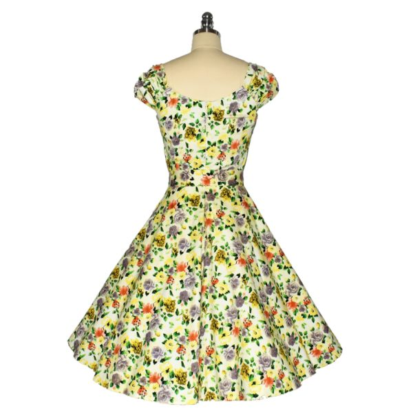 Siren Clothing 50's vintage-inspired swing dress with sweetheart neckline and ruched sleeves back View