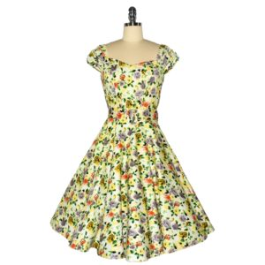 Fifties style swing dress with sweetheart neckline and ruched sleeves Front View